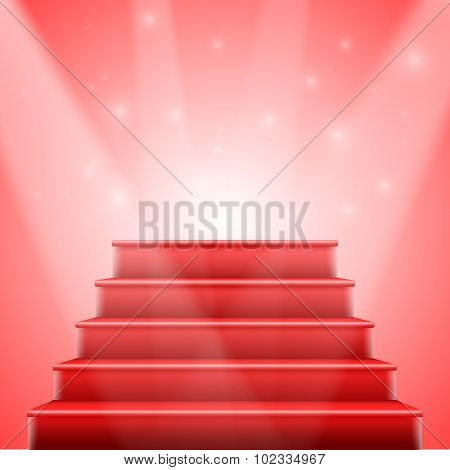 Photorealistic Vector Isolated Red Stairs to Stage with Red Carp