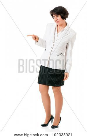 Successful business woman or teacher, isolated on white background