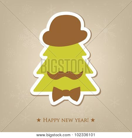 Merry Christmas celebration greeting card design with abstract christmas tree in retro gentelman hat with bow tie and moustache on snowflake background.