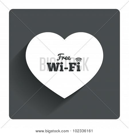 Love Free wifi sign. Wifi symbol.