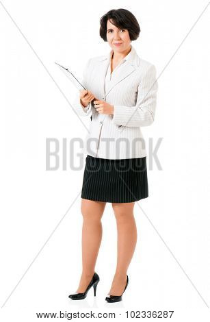 Successful business woman or teacher in suit with folders, isolated white background