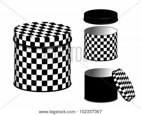 Kitchen Canisters, Checkerboard Design Cans And Lids