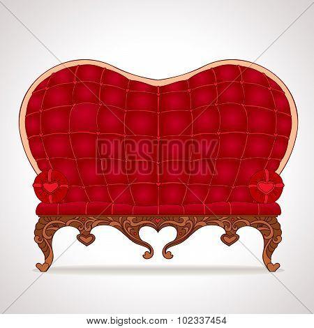 Stylish Red Leather Sofa Heart-shaped