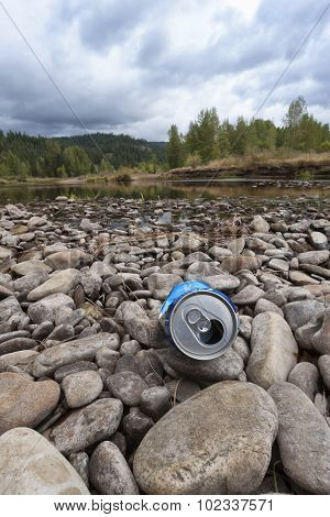 Litter On The River Bed.