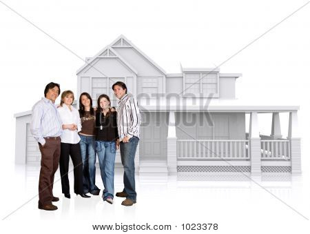 Happy Family Home Illustration