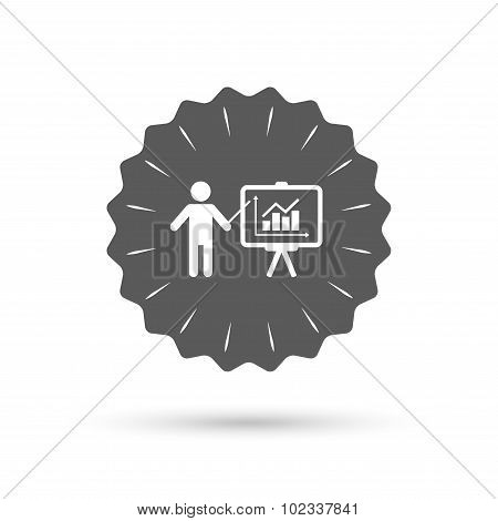 Presentation billboard sign icon. Diagram symbol
