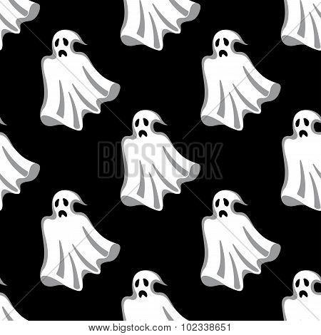 Seamless pattern of white Halloween ghosts
