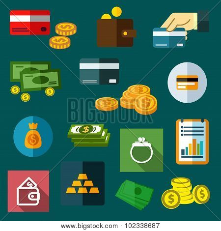Finance, business and money flat icons