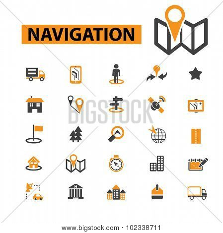 navigation, map, route icons