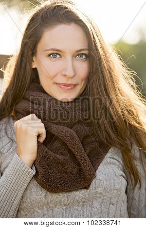Autumn fall portrait of a beautiful woman