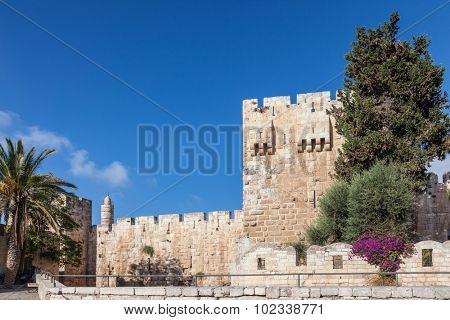 Walls of ancient Jerusalem.  Bright sunny autumn morning