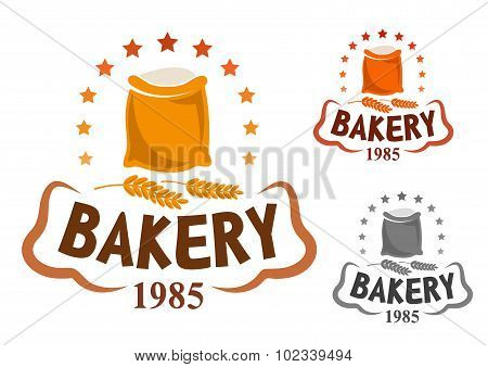 Bakery emblem with flour and wheat ears
