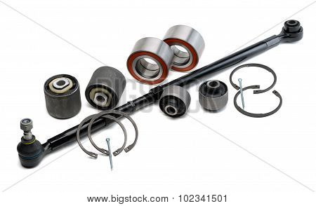 Set Of Automotive Parts, Thrust Bearings, Retaining Rings, Hobs And Pins