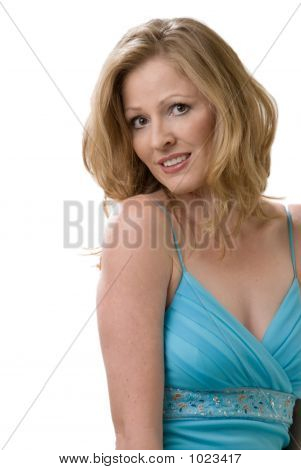 Attractive Blond In Aqua Dress