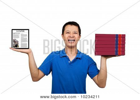 man holding books and E-books