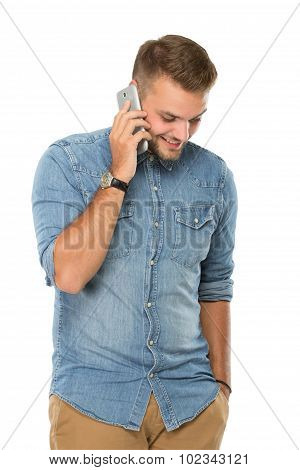 Young Man Talking On The Phone, Isolated