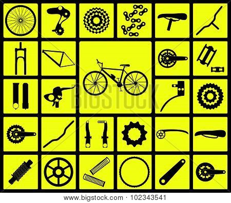 Set of black silhouette icons of bicycle spare parts. Twenty seven icons, infographic elements. Vect