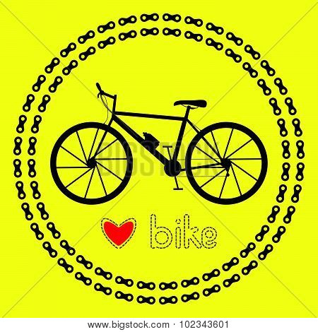 Love bike icon (logo or label). Isolated Black Silhouette of bicycle in chain circles. Vector Illust