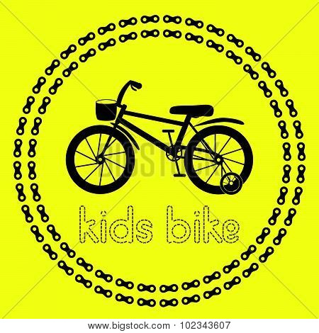 Kids bike icon (logo or label). Isolated Black Silhouette of bicycle in chain circles. Vector Illust
