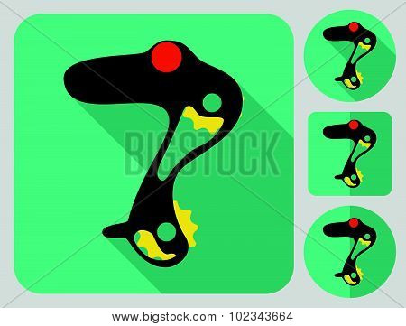Rear derailleur icon. Bike parts. Flat long shadow design. Bicycle icons series.