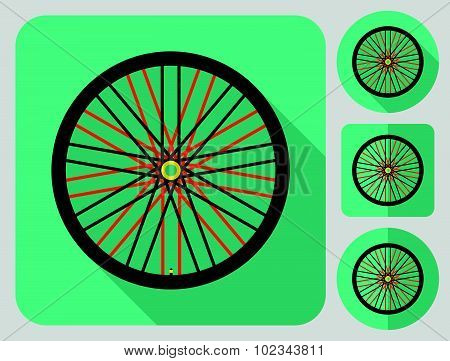 Wheel icon. Bike parts. Flat long shadow design. Bicycle icons series.