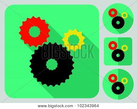 Cogwheel icon. Bike parts. Flat long shadow design. Bicycle icons series.