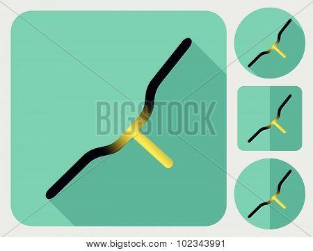 Handlebar icon. Bike parts. Flat long shadow design. Bicycle icons series.