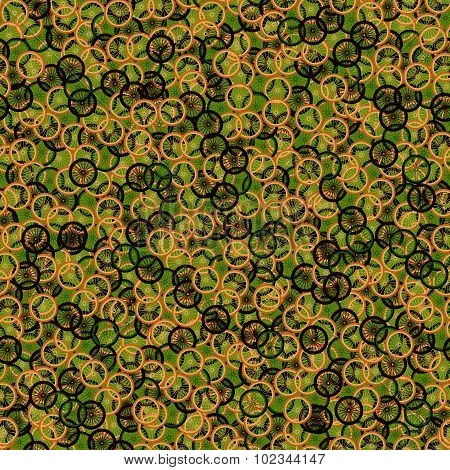 Seamless pattern with bike wheels in khaki camouflage style. Bicycle wheels with colored tire, rims