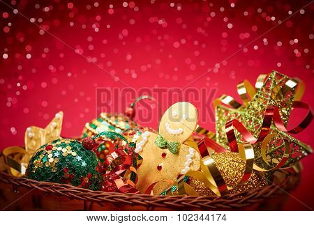 New Year 2016. Merry Christmas. Party decoration in basket