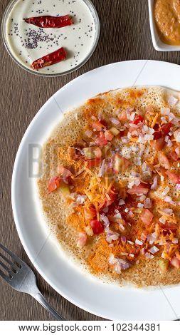Onion Tomato Carrot Uthappam