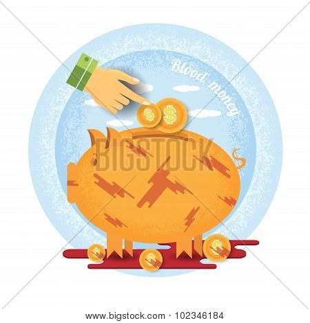 hand pointer put in coin in bloddy piggy bank stand in pool of blood.Vintage retro style blood money icon on blue circle background