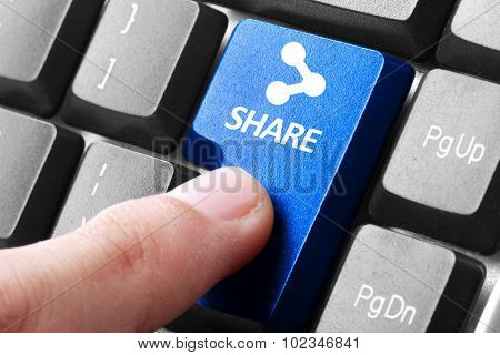 Hand Press Share Button On Keyboard