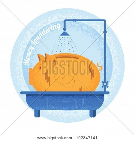 Money loundering.Dirty piggy bank stand in bath.Vintage retro style money loundering icon on blue circle background