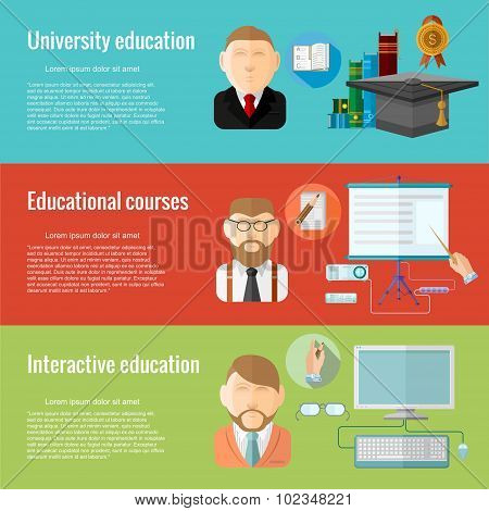 Flat design concepts for defferent education university education, educational courses, interactive educationa. Concepts for web banners and promotional materials.