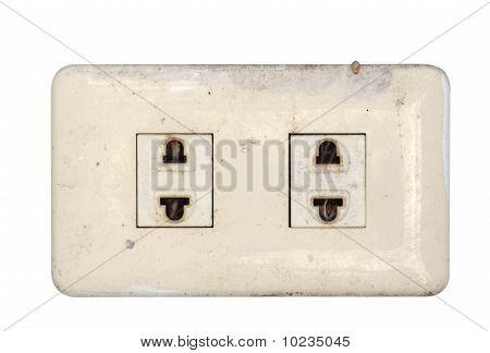 Old Plug socket. Female plugs and isilate