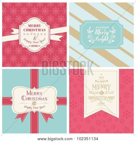 Vintage Christmas Tags or Cards -  in vector