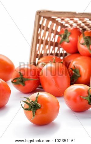 Spilled Tomatoes From Rattan Basket