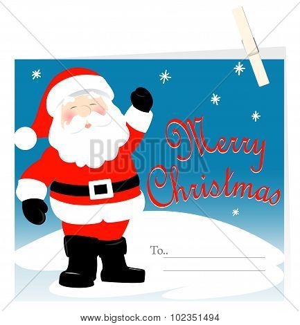 Santa Claus Merry Christmas Card With Peg