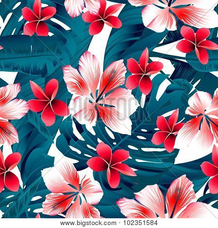 Red And White Tropical Hibiscus Flowers Seamless Pattern