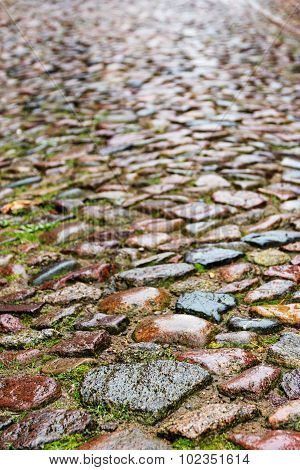 Wet Cobblestones On A Medieval Street, Vertical Background Texture