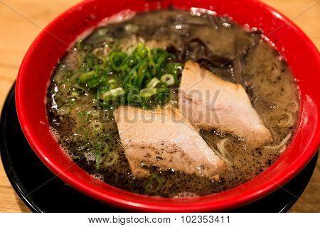 Ramen with black garlic oil