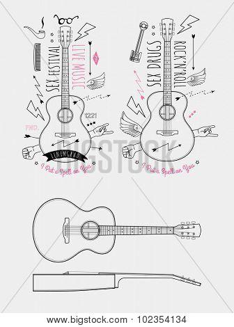 Trendy Retro Vintage Insignias with Guitar. Vector art.