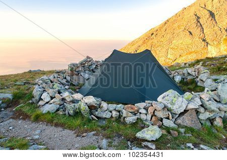 Tent in the mountains.