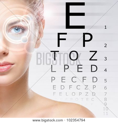 Woman with a laser on her eyes (ophthalmology, optometry and eye scanning technology)