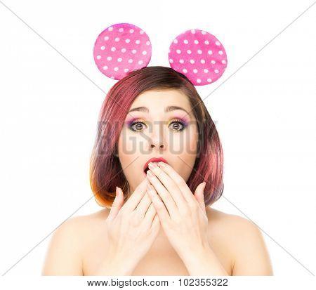 Beautiful surprised woman in mickey