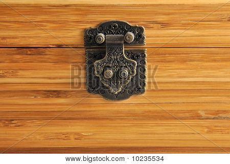 Wood surface box with padlock the texture of wood
