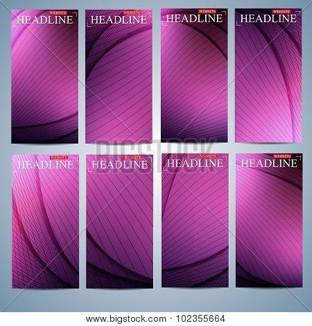 Big set of multicolored vertical backgrounds. Modern page website design template. Vector Illustrati