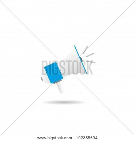 Megaphone icon with a realistic shadow white background