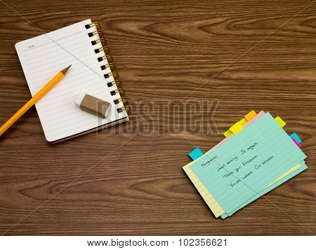 Hungarian; Learning New Language Writing Words On The Notebook