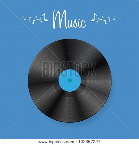 Vinyl disc on blue background with shadow
